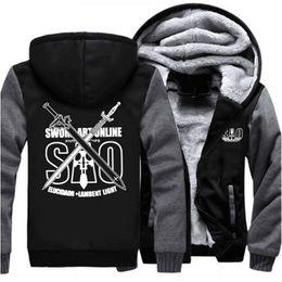c47506afb USA SIZE Anime Sword Art Online Hoodies Sweatshirt Winter Thicken Fleece  Men's Jackets Zipper Tracksuits Tops Streetwear Clothes