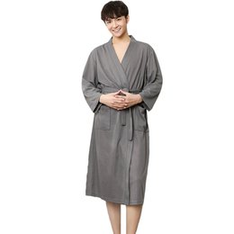 562ea7ce31 Cotton Spa Robes UK - Men Summer Robe Chinese Cotton Nightwear Solid  Sleepwear Male Nightgown Spa