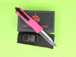 $enCountryForm.capitalKeyWord Canada - Allvin Pink Handle 7 Inch Small 616 Auto Tactical Knife 440C Single Tanto Fine Edge Titanium Blade EDC Pocket Knives