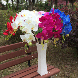Decorative butterflies for weDDings online shopping - 10pcs Artificial Phalaenopsis Butterfly Orchids White Green Pink Fuchsia Red Blue Flower For Wedding Centerpieces Decorative Flower