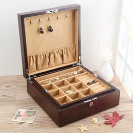$enCountryForm.capitalKeyWord Australia - 1PCS Solid Wood Multilayer Jewelry Box Double Layer Jewelry Bracelet Storage Display Box Case with Lock Coffee Color Big Capacity