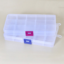 Plastic Case Compartment NZ - Plastic 15 Slots Compartment Adjustable Necklace Transparent Storage Box Case Organizer Removable Makeup Jewelry Scattered Beads