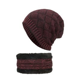 4b1ce897c44 2-Pieces Winter Beanie Hat Scarf Set Warm Knit Hat Thick Knit Skull Cap  Adult Unisex Acrylic 2018 Tops