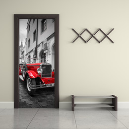 car sticker designs graphics Australia - 3D Simulation Door Sticker Prague square Red Car Decal Living Room Bedroom Creative Wallpaper Self-adhesive Renovate Hanging Mural Graphic