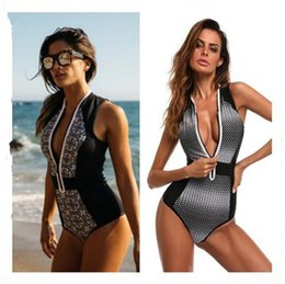 swimsuits zippers 2019 - 2 Styles Retro Printing Zipper Bikini Set Swimwear Beach Swimsuit Brazilian One Piece Bathing Suit CCA8530 10pcs cheap s