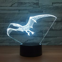 Batteries Usb Mouse Canada - Pterosaurs 3D Optical Illusion Lamp Night Light DC 5V USB Powered AA Battery Wholesale Dropshipping Free Shippin