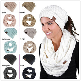 InfInIty set wholesale online shopping - CC Hat Scarves Sets Colors Women CC Ponytail Hats Infinity Scarf Winter Warm Knitted CC Beanies Cricle Ring Scarves set OOA5700