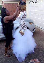 White Tulle Floor Length Girl Dress Australia - White Lace Mermiad Prom Dresses For Black Girl Long Sleeves Ruffled Tulle Zipper Up Party Prom Gown Floor Length Evening Gown