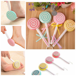 Wholesale cute scrubs online – design Foot Clean Scruber Hard Skin Remover Scrub Pumice Stone Clean Foot Cute Lollipop Foot File Scraper Scrubber Pedicure tool EEA237