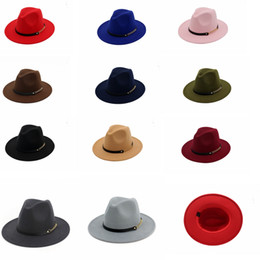 2a3c9614d42 Fashion TOP hats belt with metal ring Elegant Solid felt Fedora Hat Wide  Flat Brim Jazz Hats Trilby Panama party Caps GGA1162