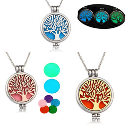 Discount stainless steel jewelry tree - Family Tree of life Aromatherapy Essential Oil Diffuser Necklace Locket Pendant 316L Stainless Steel Jewelry with 24&quo