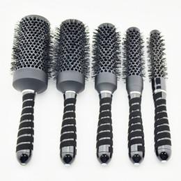 Discount nano ceramic hair - Hot saling Nano ceramic hair brush in black color, ionic round brush in Nano technology price for i 1 set 5 pcs