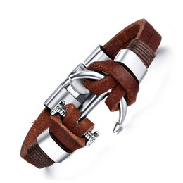 Pirate bracelets men online shopping - 21cm Vintage Leather Bracelet Bangles Alloy Boat Anchor Brown Brown Color Marin Sailor Sea Men Wristband Viking Pirate Jewelry for Male