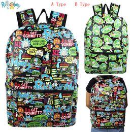Venta al por mayor de Caricatura Rick y Morty Mochila Mochila escolar Mochila de cuero PU con mochila portátil Bolsa de viaje Bolsas de cosplay lindas