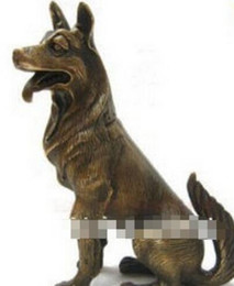 "nice drawings UK - WBY---518+++Chinese bronze Nice German Shepherd Dog Statue 6.5""H"