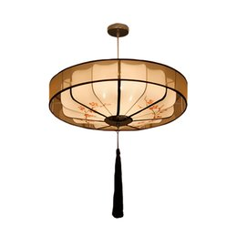 Dining room fabric online shopping - China Classical Fabric Pendant Light Modern Round Lantern Pendant Lamps Bedroom Living Room Hotel Restaurant Decorative Lighting Fixtures