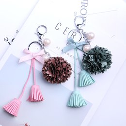 Digital photo frame key online shopping - Fashion Women Tassel Lace Flower Pearl Key Buckle Red Green Gray Color Bag Accessories Metal Keychain For Decoration kk ff