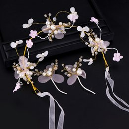 Discount bridal pearls set - Fashion Yarn Flower Bridal Hair Accessories Headband Earring Set Crystal Pearl Bride Wedding Hairband Women Hair Jewelry