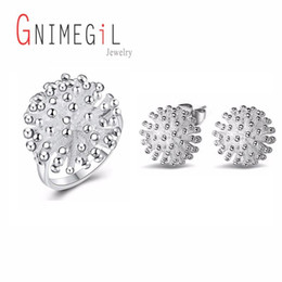ring shaped earrings Australia - GNIMEGIL Hot Sale Silver Jewelry Set Engagement Ring For Women+ Flower Shape Stud Earrings Set For Valentine's Day Best Gift