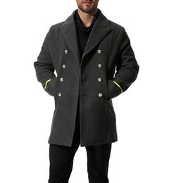 mens long double breasted overcoat Canada - England Style Fashion Men Long Woolen Coat Casual Turn Down Collar Mens Jacket Double Breasted Cashmere Overcoat and Jacket