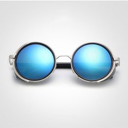 $enCountryForm.capitalKeyWord NZ - 2018 Newest Leather Steampunk Sunglasses for women men Goggles Black Round Vintage Oval Sunglasses Circle Gothic Glasses UV400 Tinted Lenses