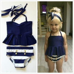 7d7ea7675346 Girls Navy Blue Stripe High Waist Two-piece Halter Hanging Neck  Double-Breasted with Hairbands 3pcs sets Swimsuits Beach Swimwear