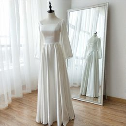 square lace up back wedding dresses NZ - Charming Ivory Real Photos A-Line Lace Square Long Sleeve Satin Draped Wedding Dress Sexy Back Floor-Length Bridal Gowns
