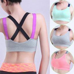 0341336c21 Cross Strap Back Women Sports Bra Professional Quick Dry Padded Shockproof  Gym Fitness Running Yoga Sport Brassiere Tops
