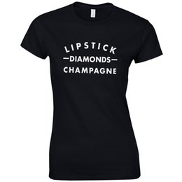 $enCountryForm.capitalKeyWord UK - Lipstick Diamonds Champagne Ladies Fitted T-Shirt - Funny Celeb Gift Fashion Top