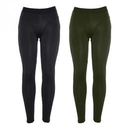 Tight Black Leggings Australia - Women Running Tights Black Polyester Fitness Sports Elastic Leggings Female High Waist Sport Tights