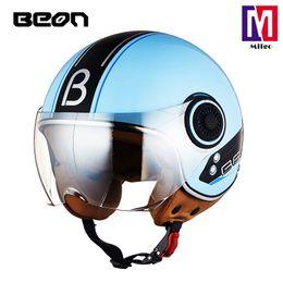 $enCountryForm.capitalKeyWord NZ - 2018 BEON B-110B New Retro Vintage Motorcycle Helmet Motorbike 3 4 Open Face Half Helmet Cruiser Touring Chopper Biker Cafe Racer Moto Helm