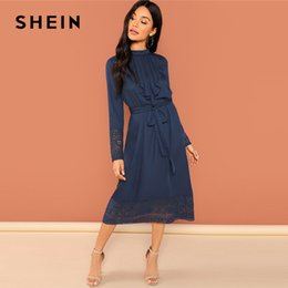 576e11a32d SHEIN Navy Going Out Weekend Casual Pleated Ruffle Trim Lace Trim Dress  2018 Autumn Long Sleeve Elegant Dress Women Dresses