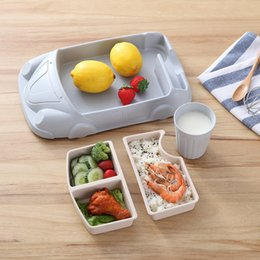 Wholesale Dinnerware Plates Australia - Infant Training Dishes Car Shaped Bowl Cup Plates Dinnerware Set Bamboo Fiber Food Containers Baby Feeding Sets Kids Tableware