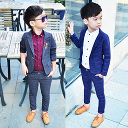 84cb3a21e6 Retail one set Child Blazer Suit Jacket + pant 2pcs boy clothing set 2-10T  Wedding flower boy Dress slim Kids Gentle Costume