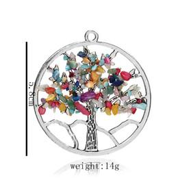Crystal Chips NZ - Tree of Life 7 Styles 5.8cm DIY Necklace Healing Pendants Chockers Chakra Handmade Crystal Chips Jewelry Necklace S006