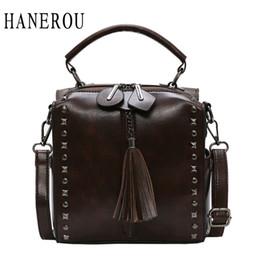 Discount small wax bags - HANEROU Fashion Women Bag Oil Wax Women's Leather Hand bags Luxury Ladies Rivet Retro Bags Small Tassel Backpacks