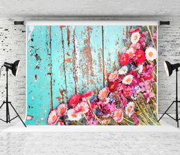 $enCountryForm.capitalKeyWord Australia - Dream 7x5ft Blue Wood Photography Backdrop for Children Newborn Party Photo Booth Wooden Background Pink Flowers Decoation Backdrop Studio