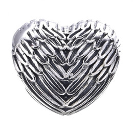 Make Feathers Canada - Vintage Angelic Feathers Charms Bead Original 925 Sterling Silver Angel Wing Heart Beads For Jewelry Making DIY Bracelet Accessories HB371