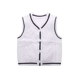 knitting baby vest UK - Knitted Baby Boys Vest Sweater 6-18M Todder Baby Sweater Vest V-Neck Classic Boys Girls Spring Autumn Boy Clothing