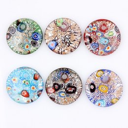 foil pendants Australia - Fashion Beauty Wholesale 6pcs handmade Murano Lampwork Glass Mixed Colorful Drop Sier Foil Millefiori Pendants Charms pendants