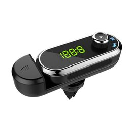 Wholesale New Car Bluetooth Mp3 Transmitter Hands Free Bracket Car Bluetooth Mp3 Player Cell Phones Accessories Kits