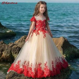 1dd1655d906 Red Lace Flower Girl Dresses for Weddings Evening First Communion Pageant  Dresses for Wedding Girls Kid