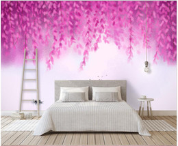 $enCountryForm.capitalKeyWord Australia - 3d wallpaper custom photo Purple mood simple and elegant flowers and willow landscape hand-painted romantic muals wall paper for walls 3 d