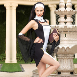 Sexy Nun Halloween Costumes Australia - Virgin Mary Sexy Black Nuns Costume Arabic Religion Monk Ghost Uniform Halloween Nuns Adult Costumes