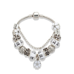 China White Cherry blossoms Pendant Bracelet 925 silver Skull Charm European Beads Bracelet for Women Jewelry DIY suppliers