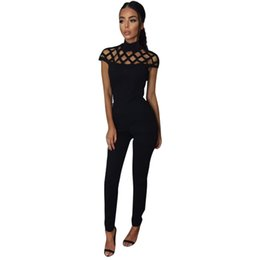 5b754fae08a9 Wholesale- NEW Womens Jumpsuit Rompers Cutout Short Sleeve Bodycon  Turtleneck Jumpsuit Sexy Bodysuit LJ7429E