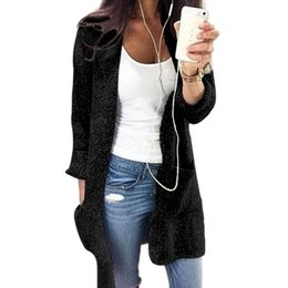 China Wholesale Personality Double Pocket Women Cardigan Youthful Popularity Long Large Size Knitted Women Sweaters Comfortable Designer Sweater cheap long sleeve cardigan pockets suppliers