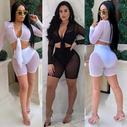 05bbeb15da9 Black Sexy Night Club Outfits Canada - 2018 Sheer Mesh Women Sexy Night Club  Two Piece