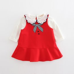 Chinese  INS 2 color 2018 Korean style spring new fashion new arrivals Girls Baby Vest dress+cotton doll collar t shirt two sets free shipping manufacturers