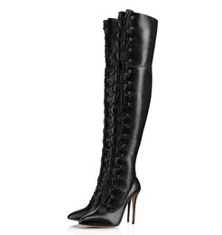 $enCountryForm.capitalKeyWord UK - Multi Buckle Strap Over The Knee Boots Sexy Pointed Toe Women Thigh-High Boots Large Size 13 Newest Arrival Winter Stilettos